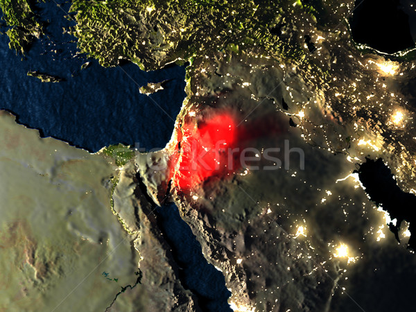 Jordan in red from space at night Stock photo © Harlekino