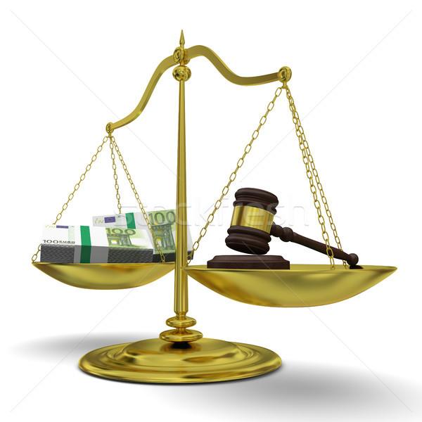 Beneficio justicia dorado escala aislado Foto stock © Harlekino