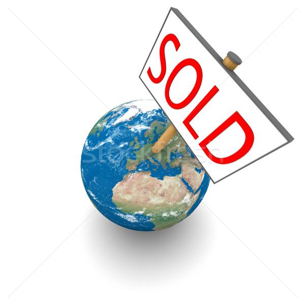Stock fotó: Eladva · Föld · felirat · Föld · izolált · fehér