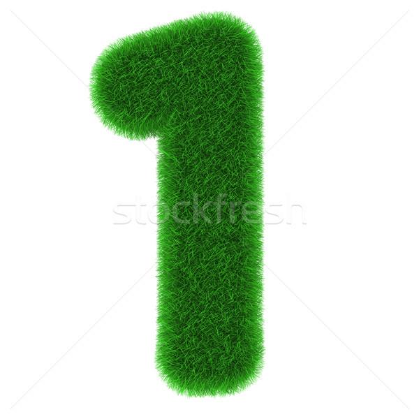 Legelső fű izolált fehér számok grafika Stock fotó © Harlekino