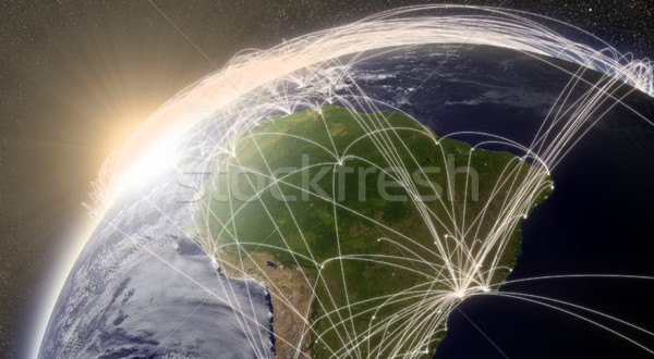 Network over South America Stock photo © Harlekino