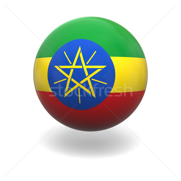 Ethiopiër vlag Ethiopië bol geïsoleerd witte Stockfoto © Harlekino