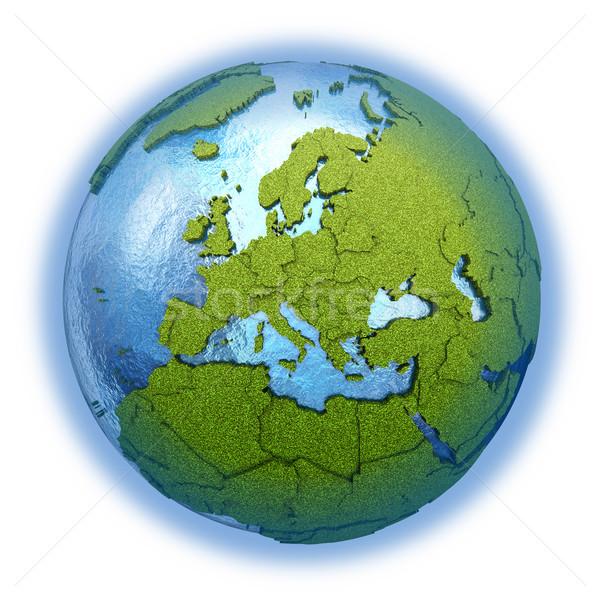 Europie planety Ziemi 3D model trawiasty kontynenty Zdjęcia stock © Harlekino