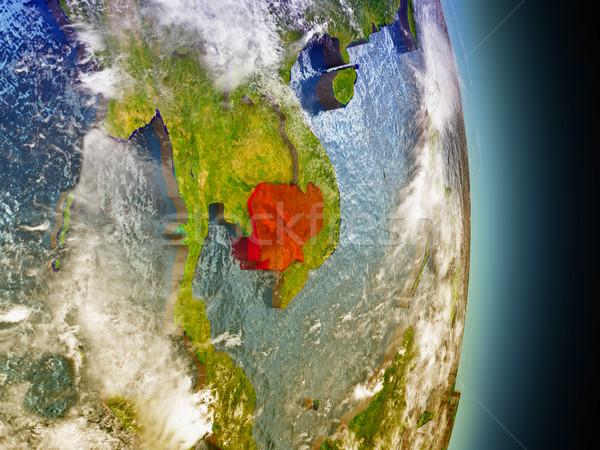 Cambodia in red from space Stock photo © Harlekino