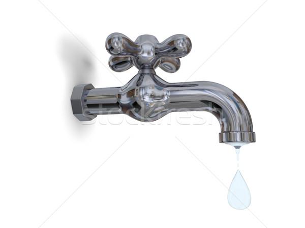 ストックフォト: タップ · 実例 · 給水栓 · 水滴 · 孤立した · 白