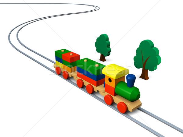 Giocattolo di legno treno illustrazione illustrazione 3d colorato legno Foto d'archivio © Harlekino