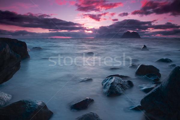 éjfél nap Norvégia késő éjszaka tenger Stock fotó © Harlekino