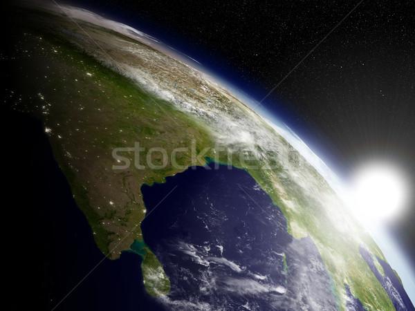 Stock fotó: Napfelkelte · India · indiai · szubkontinens · űr · rendkívül · részletes