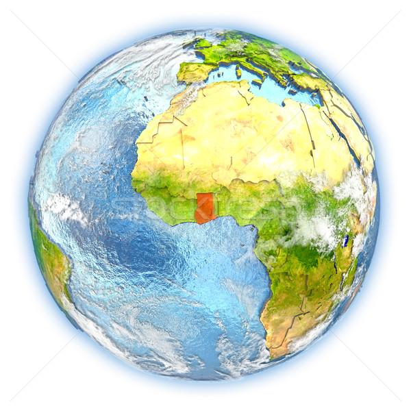 Ghana aarde geïsoleerd Rood aarde 3d illustration Stockfoto © Harlekino
