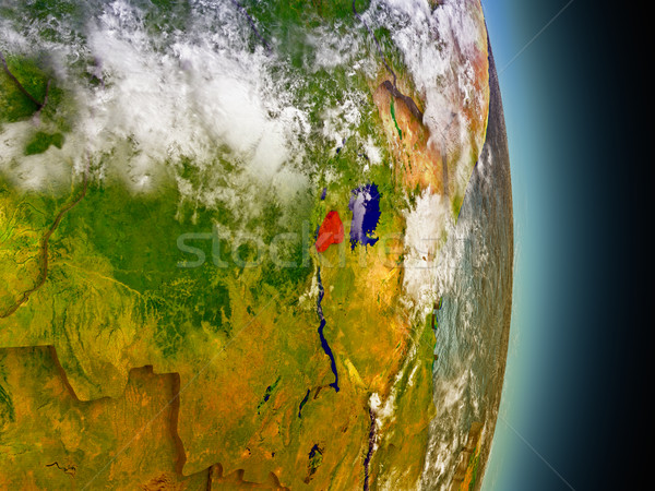 Rwanda in red from space Stock photo © Harlekino