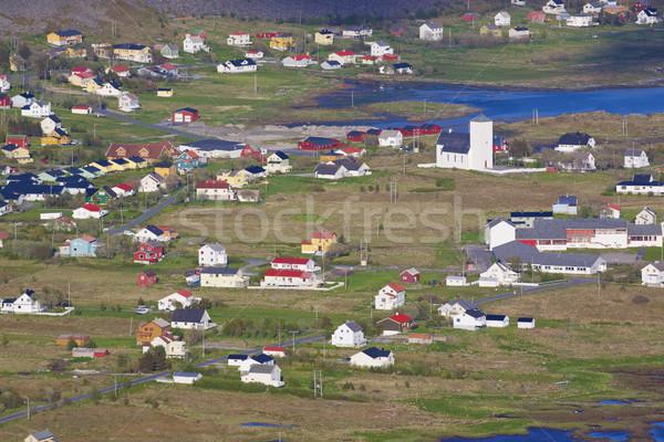 Norweski miasta typowy kolorowy domów wyspa Zdjęcia stock © Harlekino