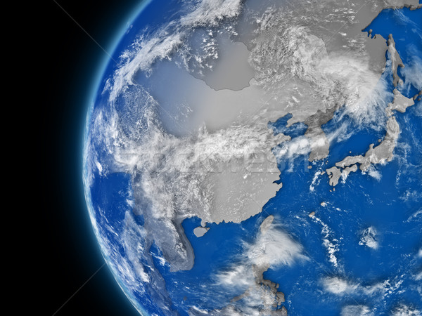 east Asia region on political globe Stock photo © Harlekino