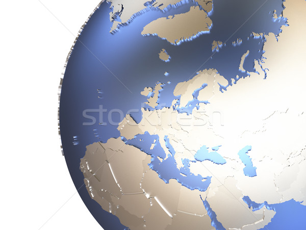 Europe on metallic Earth Stock photo © Harlekino