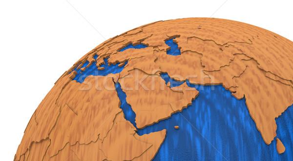 Közel-Kelet fából készült Föld régió modell Föld Stock fotó © Harlekino