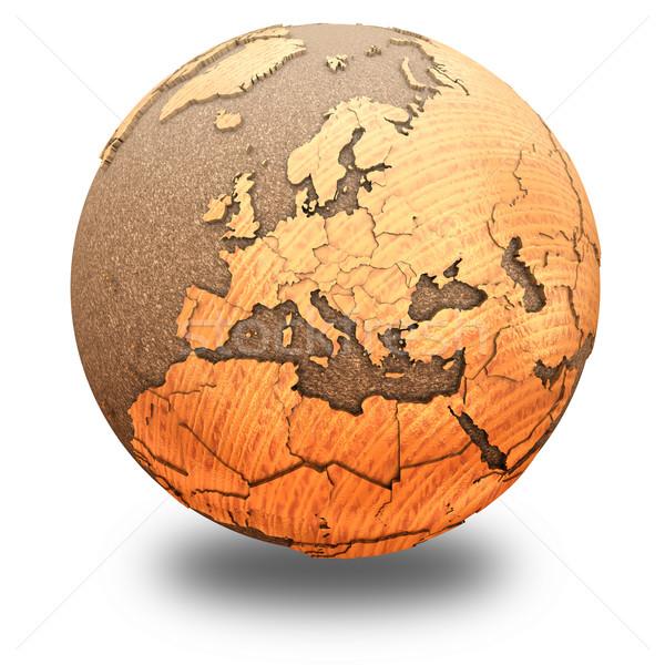Europa houten aarde 3D model oceanen Stockfoto © Harlekino