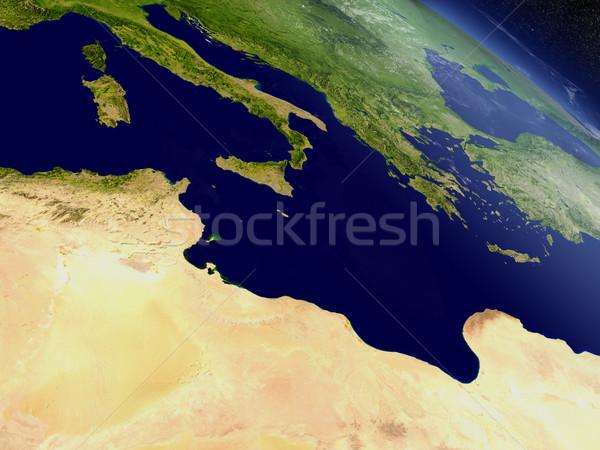 Тунис пространстве регион орбита 3d иллюстрации Сток-фото © Harlekino