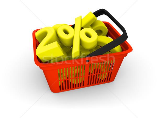 Bevásárlókosár tele 3d illusztráció piros műanyag vásárlás Stock fotó © Harlekino