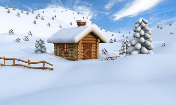 Winter log cabin Stock photo © Harlekino