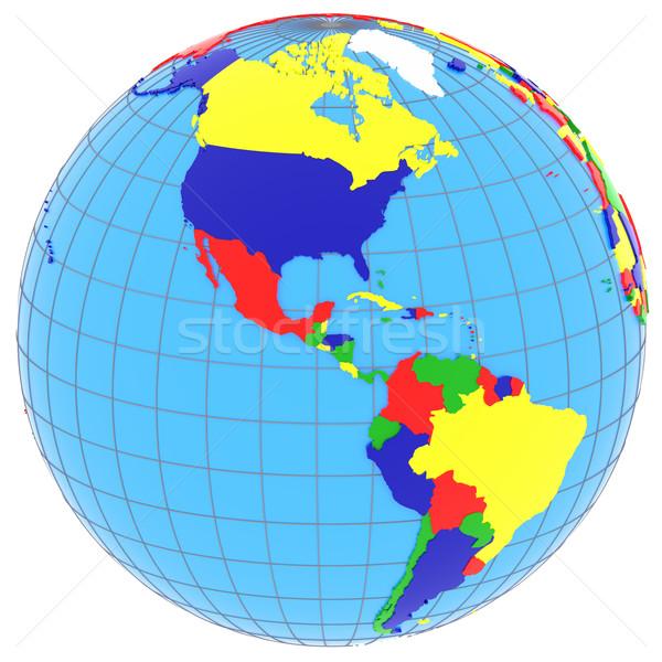 Sur norte América mundo político mapa Foto stock © Harlekino