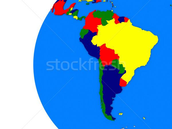 Dél-amerikai földrész politikai földgömb illusztráció fehér Stock fotó © Harlekino