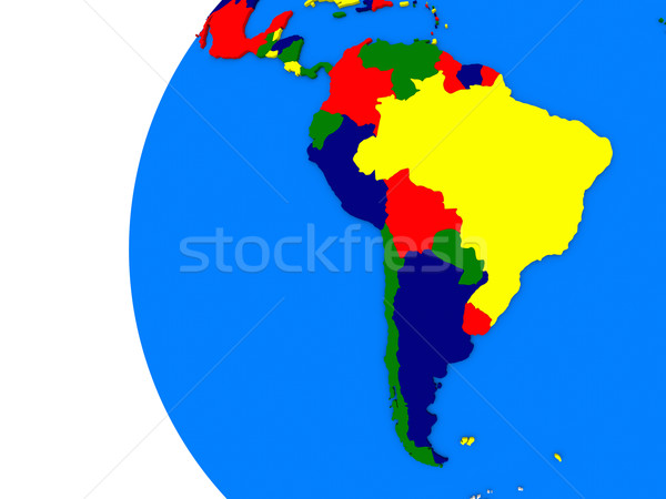 South american continent on political globe Stock photo © Harlekino