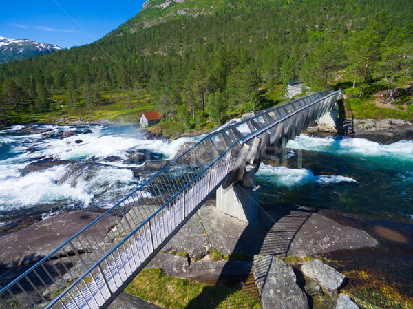 Pont cascade cascades Norvège populaire attraction touristique Photo stock © Harlekino