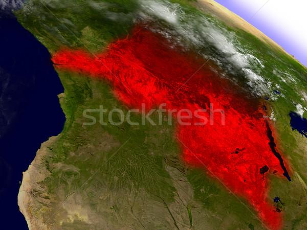 Demokratik cumhuriyet Kongo uzay kırmızı yörünge Stok fotoğraf © Harlekino