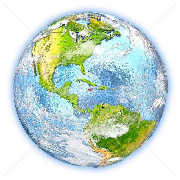Jamaica aarde geïsoleerd Rood aarde 3d illustration Stockfoto © Harlekino