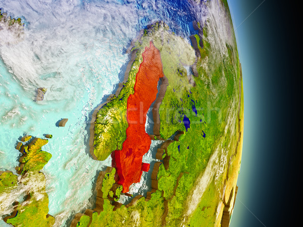 Швеция красный пространстве модель орбита 3d иллюстрации Сток-фото © Harlekino