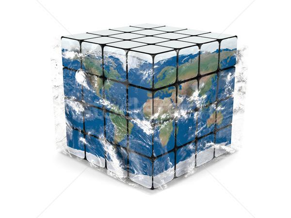 Terre cube atmosphère planète terre cubes nuages Photo stock © Harlekino