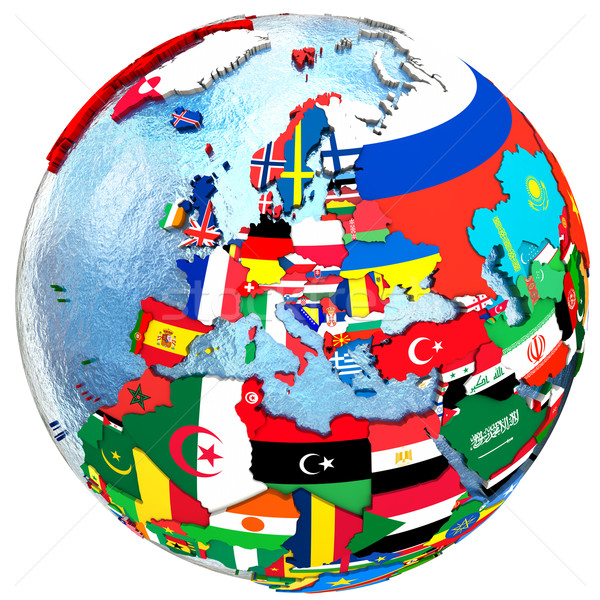 Siyasi Avrupa harita ülke bayrak yalıtılmış Stok fotoğraf © Harlekino