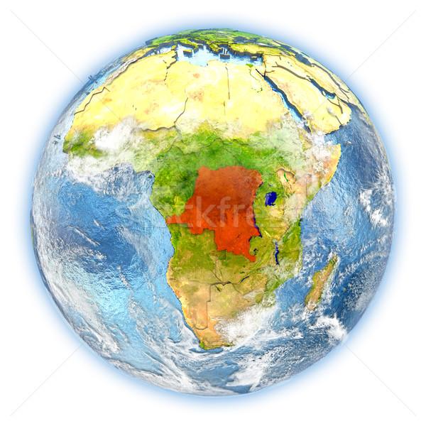 Demokratik cumhuriyet Kongo toprak yalıtılmış kırmızı Stok fotoğraf © Harlekino