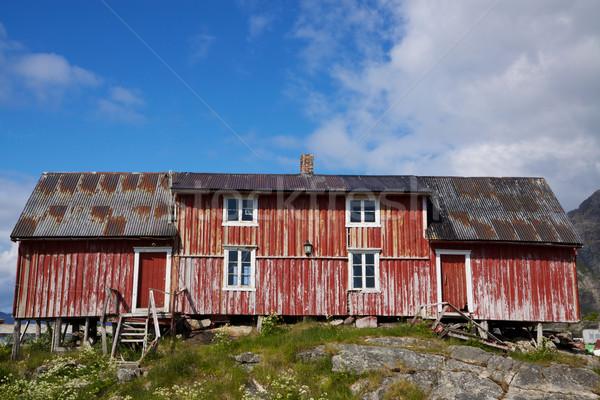 Old deteriorated fishing house Stock photo © Harlekino