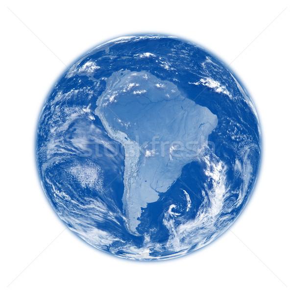 Güney amerika mavi toprak dünya gezegeni yalıtılmış beyaz Stok fotoğraf © Harlekino
