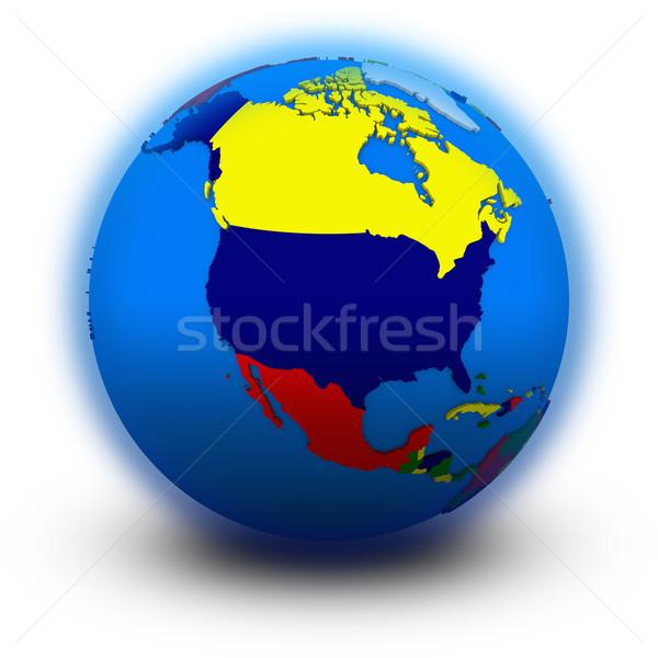north America on political globe Stock photo © Harlekino
