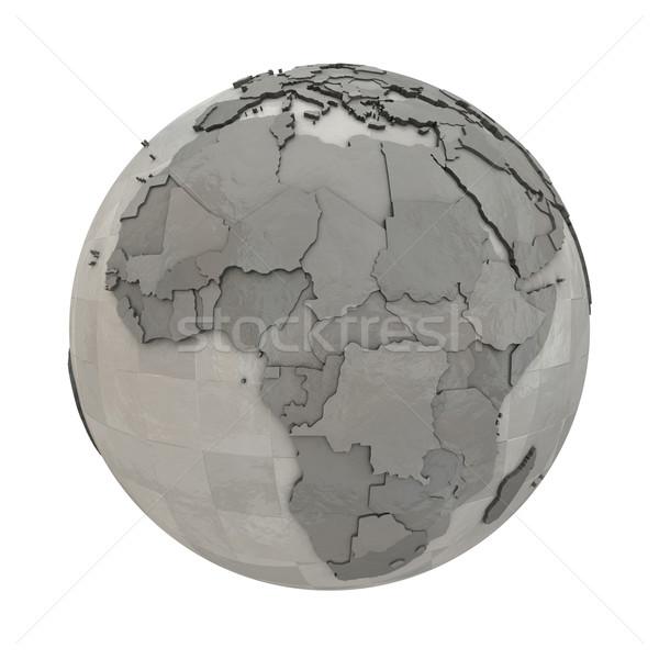 Afryki metaliczny planety Ziemi 3D model stali Zdjęcia stock © Harlekino