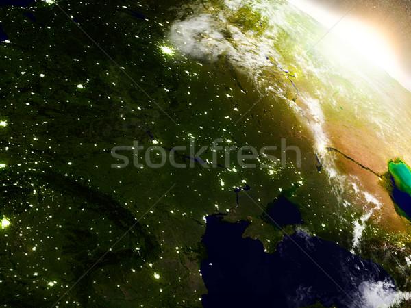 ウクライナ スペース 日の出 地域 軌道 3次元の図 ストックフォト © Harlekino