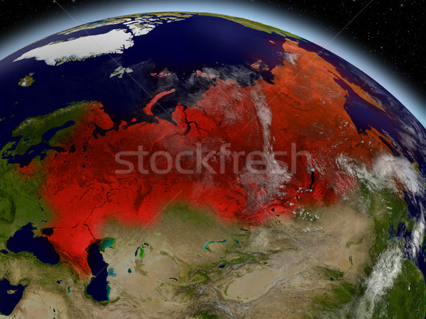 Stock photo: Russia from space highlighted in red