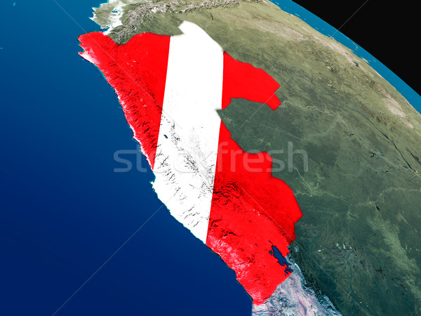 Vlag Peru ruimte 3d illustration Stockfoto © Harlekino