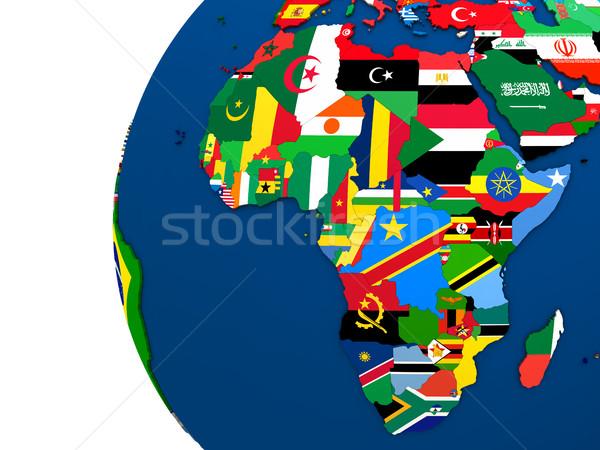 Siyasi Afrika harita ülke bayrak 3d illustration Stok fotoğraf © Harlekino
