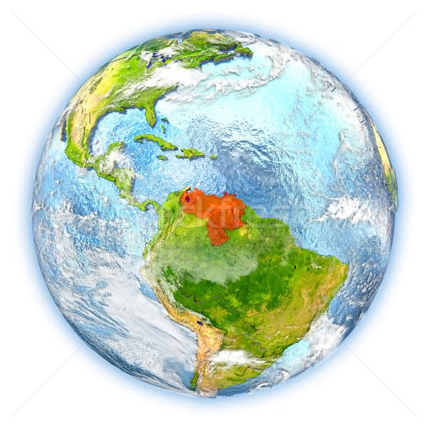 Venezuela Föld izolált piros Föld 3d illusztráció Stock fotó © Harlekino
