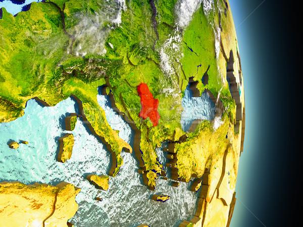 Sırbistan kırmızı uzay model yörünge 3d illustration Stok fotoğraf © Harlekino