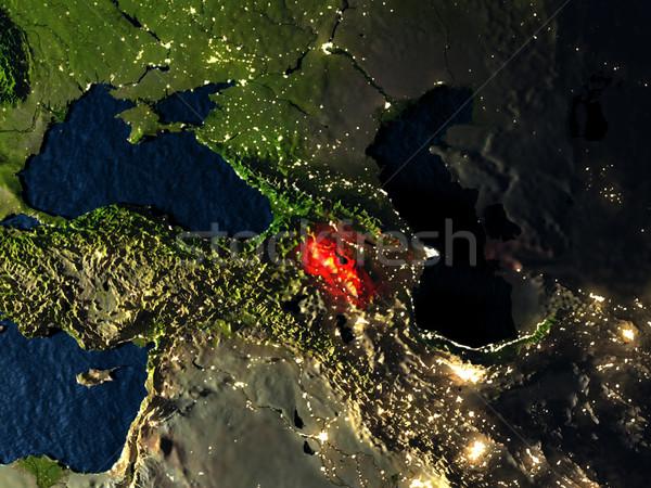 Vermelho espaço noite ilustração 3d Foto stock © Harlekino