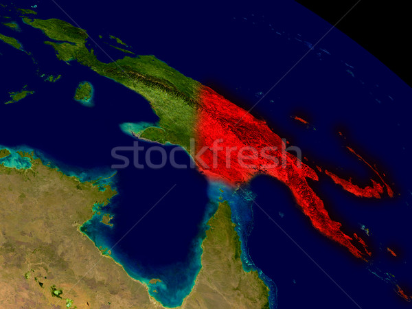 Papoea-Nieuw-Guinea ruimte Rood 3d illustration gedetailleerd Stockfoto © Harlekino