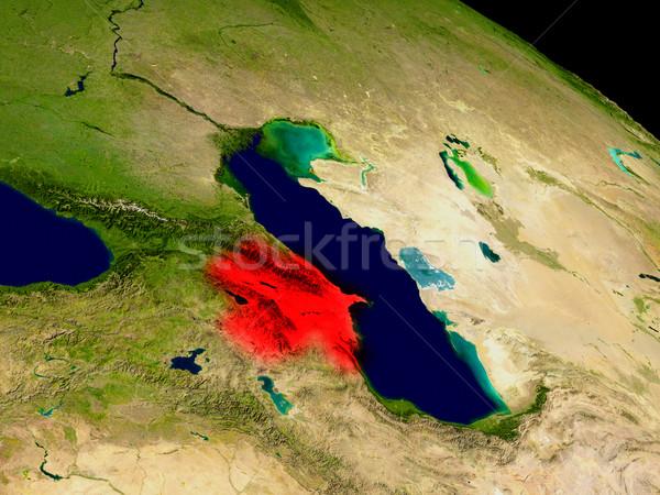 Azerbajdzsán űr piros 3d illusztráció rendkívül részletes Stock fotó © Harlekino