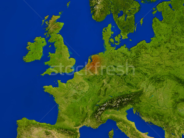 Netherlands from space in red Stock photo © Harlekino