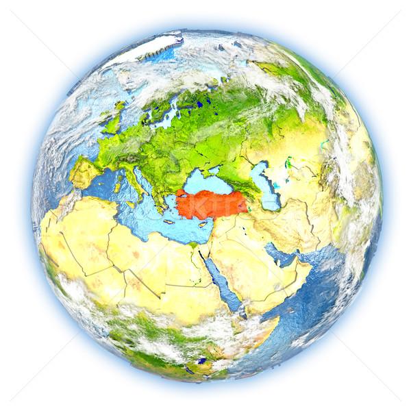 トルコ 地球 孤立した 赤 地球 3次元の図 ストックフォト © Harlekino
