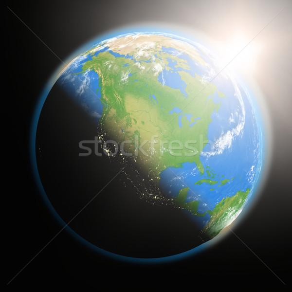 Foto stock: Nascer · do · sol · norte · américa · espaço · ver · sol