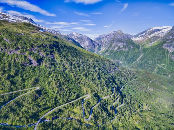 山 合格 観光 道路 ノルウェー 風景 ストックフォト © Harlekino
