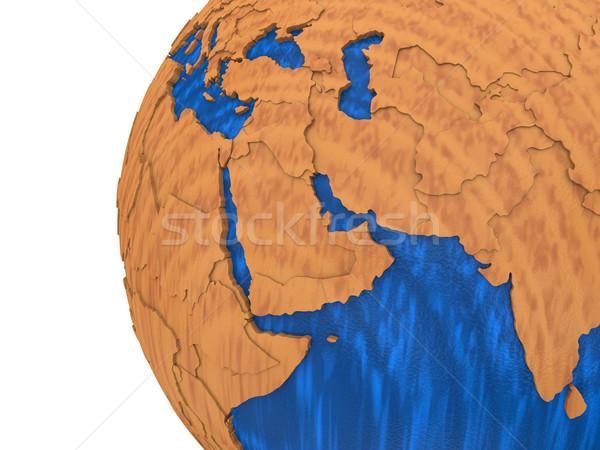 Orta Doğu ahşap toprak bölge model dünya gezegeni Stok fotoğraf © Harlekino